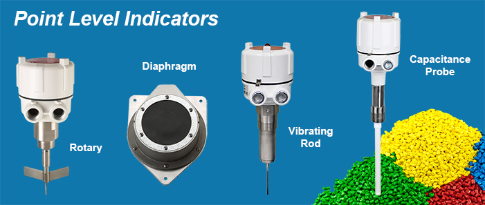 BinMaster rotary, diaphragm, vibrating rod, and capacitance probe point level indicators