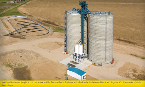 New 1-million-bushel jumpform concrete annex built by Perryton Equity Exchange at its Prairieola site.